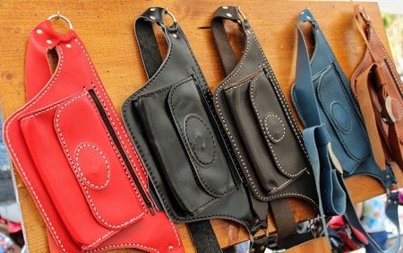 Leather fanny packs in different colors hand made 写真素材 - 123664007