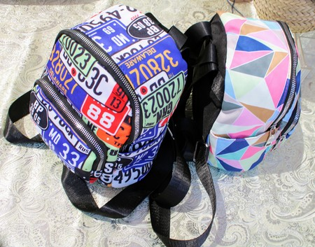 Backpacks for school with zippers and outer pockets 写真素材