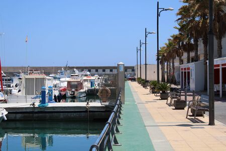 Marina and places of leisure and tourism in the village of Roquetas de Mar of Almería , Spain on july 14, 2019 Redakční