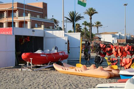 Place of leisure with hydrobicycles and water activities in the Urbanization of Roquetas de Mar of Almería in Spain on july 14, 2019