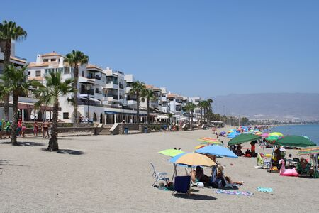 Place of leisure and tourism on the beach of the Roquetas de Mar of Almería ,Spain on july 14, 2019