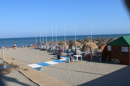 Place of leisure and tourism on the beach of the Urbanization in Roquetas de Mar in Spain on july 14, 2019