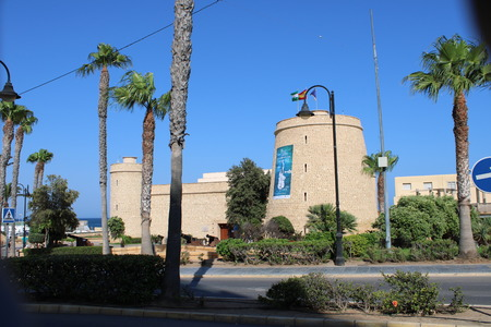 Santa Ana castle a 16th century fortification in the town of Roquetas de Mar of Almería in Spain on july 14, 2019