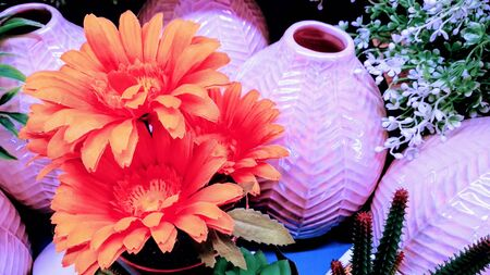 Ceramic jugs painted in purple and pot with red daisies 写真素材