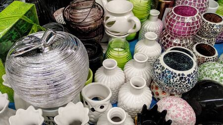 vases and jugs made of glass and clay with beautiful decorations 写真素材