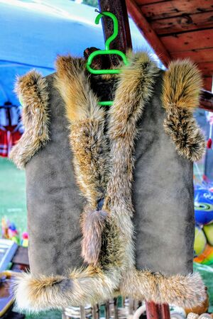 Typical romanian vest made with rabbit fur in grey and brown tones 写真素材
