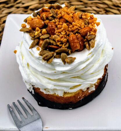 Sponge cake with chocolate base , whipped cream and toasted seeds