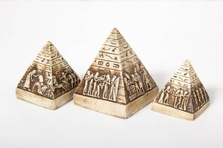 egyptian pyramids: Egyptian pyramids with pictures on a white background