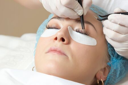 escalating of natural of eyelashes in a beauty salon