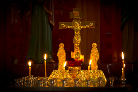 beautiful Christmas candles burning in the Golden candlestick Stock Photo
