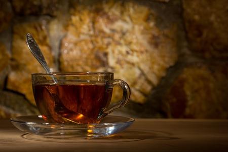 glass mug with tea