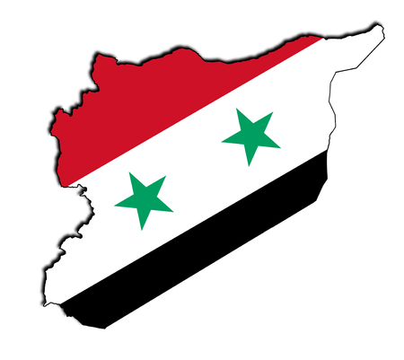 map of Syria with the national flag Banco de Imagens