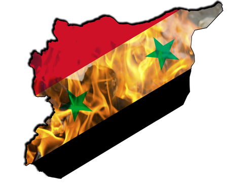 map of Syria with the national flag Reklamní fotografie - 92127860
