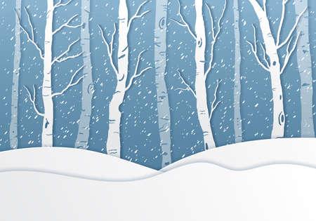 Illustration of winter season,paper art and digital craft style.