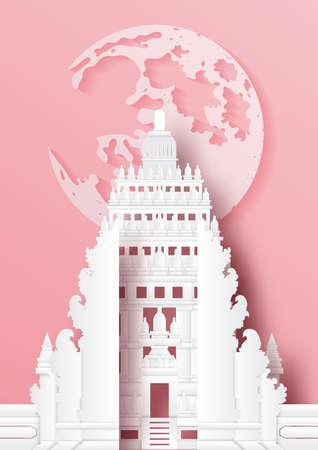 Paper cut style of world famous landmark of Indonesia,travel postcard and poster,vector illustration. Ilustração