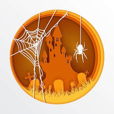 Paper art of Halloween, vector art and illustration.