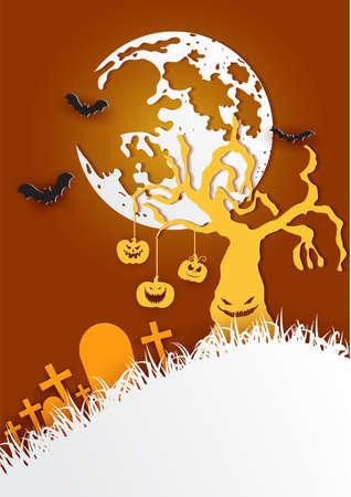 Paper art of happy halloween,Vector illustration. Çizim