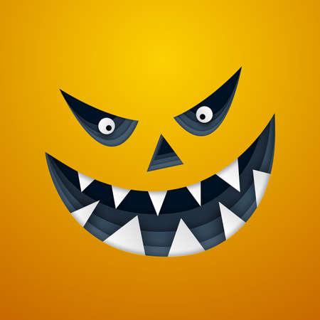 Paper art of monster, Happy Halloween celebration concept, vector art and illustration.
