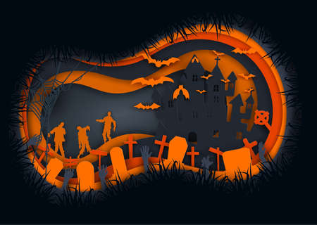 Paper art of halloween night background.Zombies,bats and haunted castle.Vector illustration.