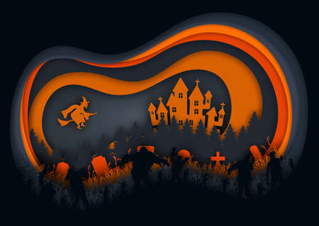 Paper art of halloween night background.The witch,zombies and haunted castle.Vector illustration.