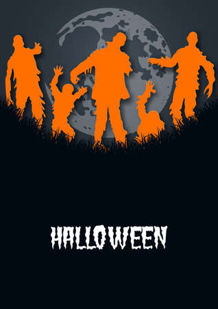Paper art of halloween.Zombies and moon.Vector illustration.