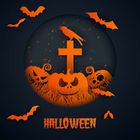 Paper art of halloween.Pumpkin and crosses.Vector illustration. Ilustração