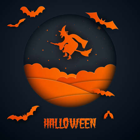Paper art of halloween.The witch flying .Vector illustration.
