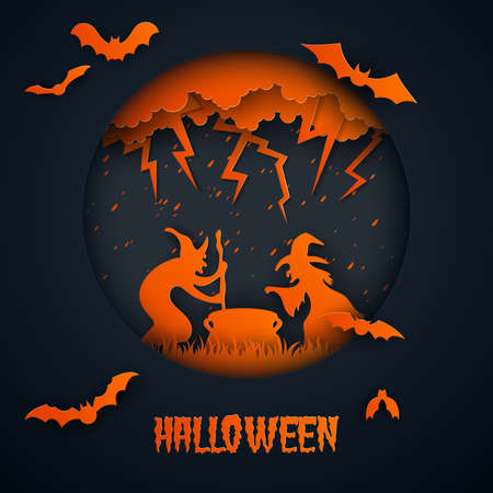 Paper art of halloween.Witches are performing.Vector illustration.