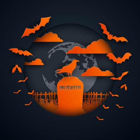 Paper art of halloween night background.Crow on gravestone.Vector illustration.