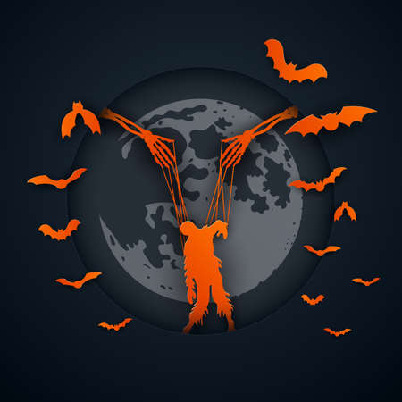 Paper art of halloween night background.Zombie puppet on ropes.Vector illustration.