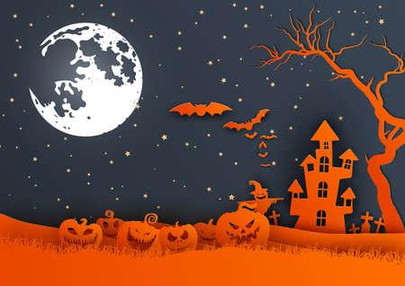 Paper art of happy Halloween,vector art and illustration.