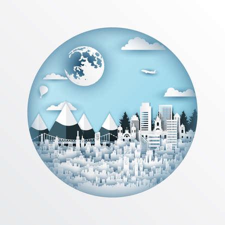 Paper cut style of world famous landmark of Brazil,travel postcard and poster,vector illustration. Иллюстрация