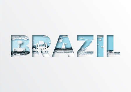Paper cut letters Brazil and famous landmark,Vector illustration.