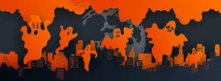 Panorama paper art of happy Halloween,vector art and illustration.