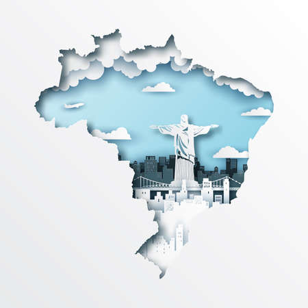 Paper cut out of brazil map and famous landmark,vector paper art and digital craft style.