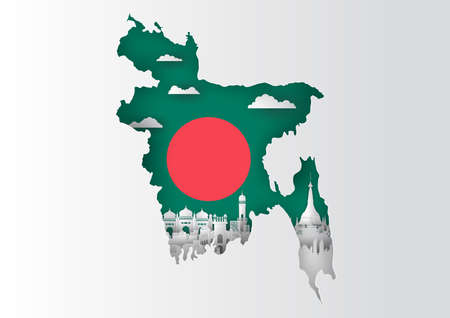 Paper cut out of Bangladesh map and famous landmark on flag,vector paper art and digital craft style Stok Fotoğraf - 133445252