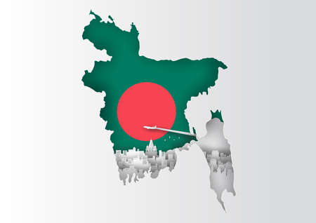 Paper cut out of Bangladesh map and famous landmark on flag,vector paper art and digital craft style Stok Fotoğraf - 133445250
