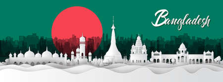 Panorama of top world famous landmark of Bangladesh ,paper cut style vector illustration Stok Fotoğraf - 133445249