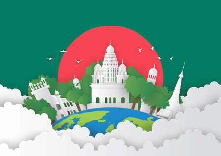 Illustration of Bangladesh and famous landmark, Paper art stlye Stok Fotoğraf - 133445258
