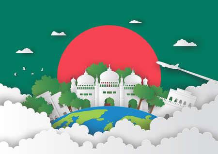 Illustration of Bangladesh and famous landmark, Paper art stlye Stok Fotoğraf - 133445259