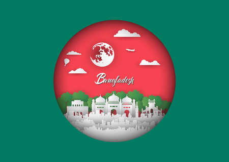 Paper cut style of world famous landmark of Bangladesh ,travel postcard and poster,vector illustration Stok Fotoğraf - 133445261