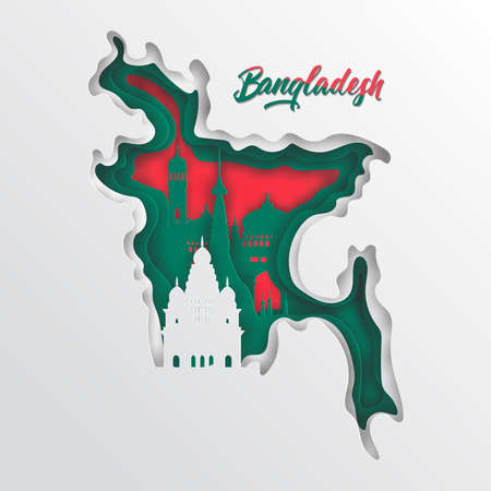 Paper cut out of Bangladesh map and famous landmark on flag,vector paper art and digital craft style Stok Fotoğraf - 133445265