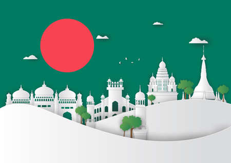 Illustration of Bangladesh and famous landmark, Paper art stlye Stok Fotoğraf - 133445267