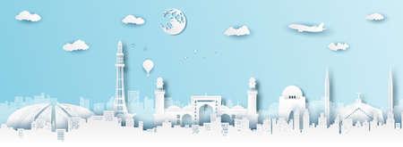 Panorama of top world famous landmark of Pakistan,paper cut style vector illustration. Stok Fotoğraf - 133445279