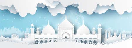 Panorama of top world famous landmark of Pakistan,paper cut style vector illustration. Stok Fotoğraf - 133445281
