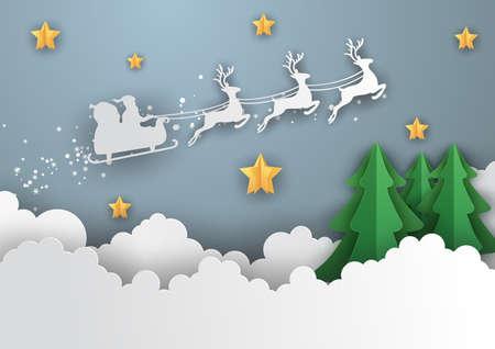Frohe Weihnachten und ein glückliches neues Jahr, Illustration des Weihnachtsmannes am Himmel, Papierkunst und Handwerksstil Vektorgrafik