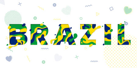Brazil greeting card with paper cut.Vector decoration pattern of color multilayer numbers for celebration background