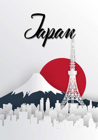 Travel Japan concept illustration in paper cut style, famous world landmarks of Japanese country.