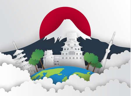 Illustration of Japan  and famous landmark, Paper art stlye.