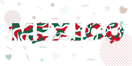 Mexico greeting card with paper cut.Vector decoration pattern of color multilayer numbers for celebration background